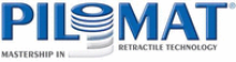 blaues Pilomat logo mit stilisiertem Poller