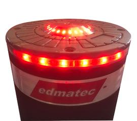 Pollerkopf mit roter LED-Beleuchtung seitlich und oben